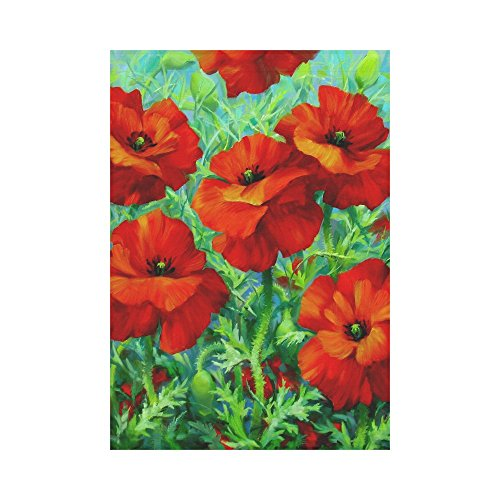 InterestPrint Red Poppy Flower Polyester Garden Flag Outdoor Banner 28 x 40 inch, Seasonal Floral Decorative Large House Flags for Party Yard Home Decor