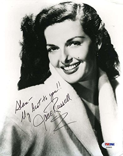 JANE RUSSELL Hand Signed 8x10 Photo Autographed Authentic - PSA/DNA Certified