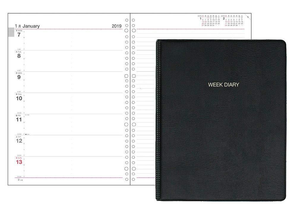 コレクト 手帳 2019年 ウィークダイアリー 見開き1週間レフト式 A4 リングバインダー D-465 【まとめ買い3冊セット】   B07KFBBYKM