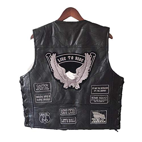 - AIJICHE Motorcycle Riding Vest - Punk Retro Classic Patch Motorcycle Jacket Genuine Leather - Silver Grey Embroidered Design - Cycling Club Casual Wear,Black,XL