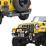 E-Autogrilles 97-06 Jeep Wrangler TJ Textured Black Off Road Front Bumper with LED Lights and Rear Bumper with 2