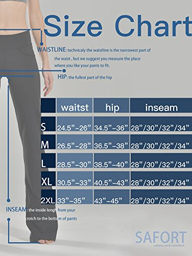 "Safort (28""/30""/32""/34"" Inseam Regular/Tall Bootcut Yoga Pants, Four Pockets, Long Bootleg, Flare Pants, Black, L by Safort (Image #6)"