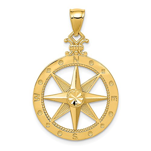 14k Yellow Gold Compass Pendant Charm Necklace Sea Life Fine Jewelry For Women Gift ()