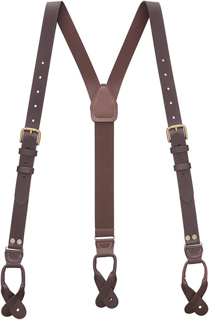 Men's Vintage Style Suspenders SuspenderStore Mens Buckle Strap Leather Suspenders - 1-Inch Button $46.95 AT vintagedancer.com
