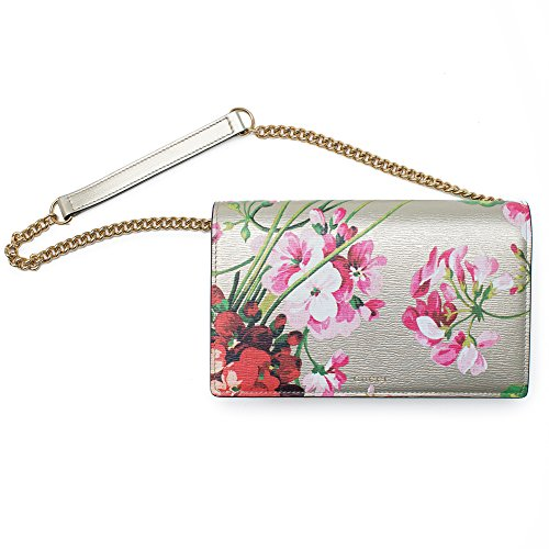 Gucci Blooms Gold Wallet w Chain Shangai Oro Bag Leather Authentic New