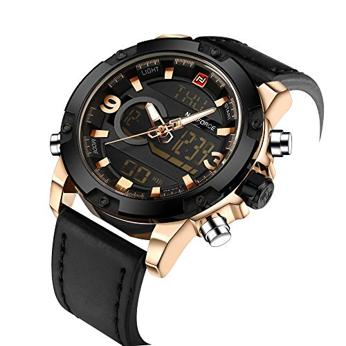 NAVIFORCE Sport Watch for Men Leather Analog Digital Watches Waterproof Military Time Wristwatch Black
