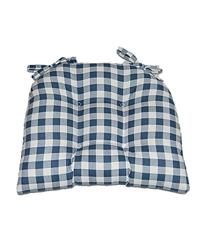 Indoor Cotton Blue Plaid Country Checkerboard / Checkered Fabric Tufted Cushion Pad with Ties for Kitchen / Dining Chair - Select Size (16'' x 16'')