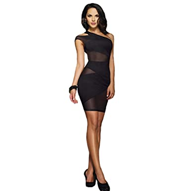 Sexy Lingerie One Shoulder Mesh Sexy Club Prom Dresses(Suitable for 45-60KG Women