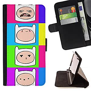 DEVIL CASE - FOR LG G2 D800 - Comic Cartoon Smiley Face Colorful Neon - Style PU Leather Case Wallet Flip Stand Flap Closure Cover
