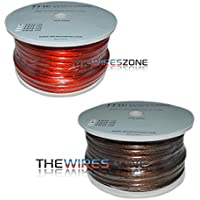 The Wires Zone PW4-100 High Performance Red + Black 4 Gauge 100 ft Power Cable