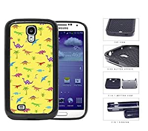 Prehistoric Colorful Dinosaur Pattern 2-Piece Dual Layer High Impact Rubber Silicone Cell Phone Case Samsung Galaxy S4 SIV I9500 by icecream design