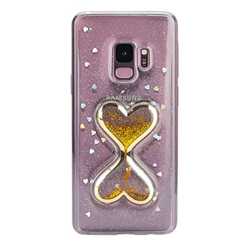 Price comparison product image Jennyfly Galaxy S9 Cover Girls 5.8 inch, Fashion Case Shiny Glitter Clear TPU Protective Case Soft Durable Protection Portable Full-Body Rugged Clear Protective Phone Cover for Samsung Galaxy S9-Gold