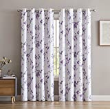 "HLC.ME Jasmine Floral Faux Silk 100% Blackout Room Darkening Thermal Insulated Curtain Grommet Panels For Bedroom - Energy Efficient, Complete Darkness, Noise Reducing- Set of 2 (Purple, 52""W x 84""L)"