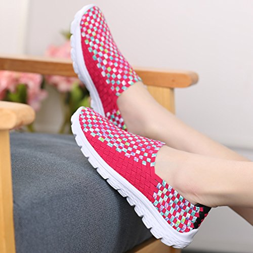 CFP PTY-7799 Womens Breathable Woven Durable Walking Pump Athletic Running Sporty Slip On Casual Sneakers Snug Loafers Antiskidding Flat Active Travel Pink Chzrco