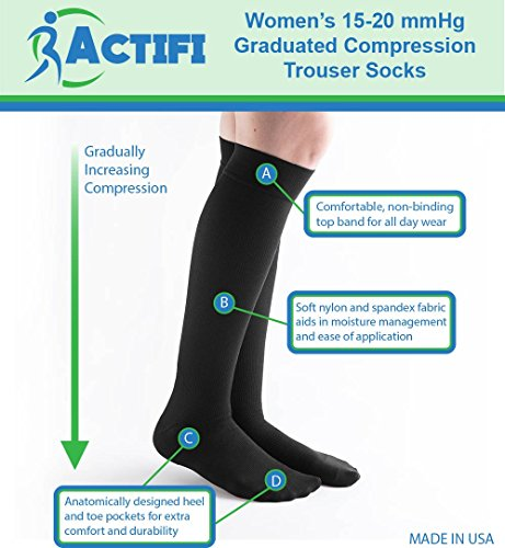Actifi Women's 15-20 mmHg Compression Socks - Casual, Dress, Travel, Trouser by Actifi (Image #1)
