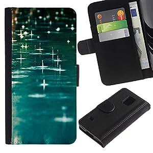 Paccase / Billetera de Cuero Caso del tirón Titular de la tarjeta Carcasa Funda para - Teal Rain Water River Reflective Blue - Samsung Galaxy S5 V SM-G900
