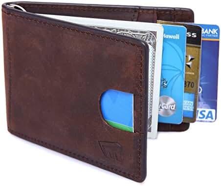 Magictodoor Slim Wallet RFID Blocking Wallets Genuine Leather Front Pocket Card Holder