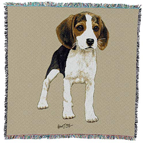 - Beagle Puppy Woven Throw Blanket with Fringe Cotton. USA Size 54x54 ()