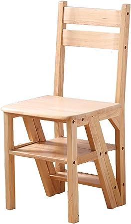 Silla de escalera de 4 niveles, silla plegable de madera natural multifuncional convertible de la biblioteca de la cocina, biblioteca moderna de la escalera hecha de madera, estante del soporte: Amazon.es: Hogar