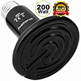 Ceramic Infrared Heat Emitter Lamp 200W   Reptile Brooder Chicken Coop Outdoor Pet Heater Bulb   20,000+ Hours Power Lamps by Promondi