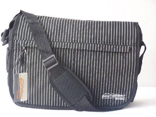 Messenger Laptopfach Notebooktasche / Laptoptasche Gestreift schwarz