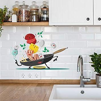 WLGOOD Dibujos animados Happy pan cocina Etiqueta de la pared para ...