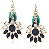 Gold-Tone Statement Earring with Navy Blue Cabachon and Tonal Blue Seed Bead Fringe