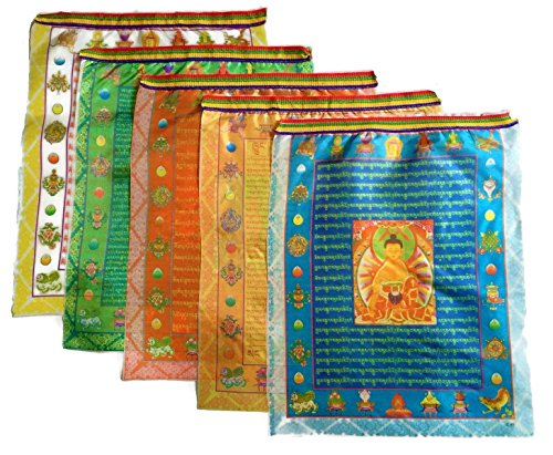 """Prime-Products Tibetan Prayer Flag - Large Satin Buddha Design (13"""" x 11"""") - Roll of 10 Flags - Handmade in Nepal - Buddhist Flags - Five Element Colors"""