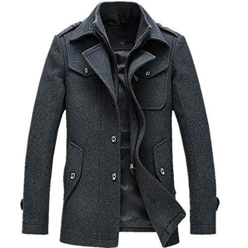- T&D Men's Winter Thicken Warm Stand Collar Wool Coat Single Breasted Pea Coat Small Grey