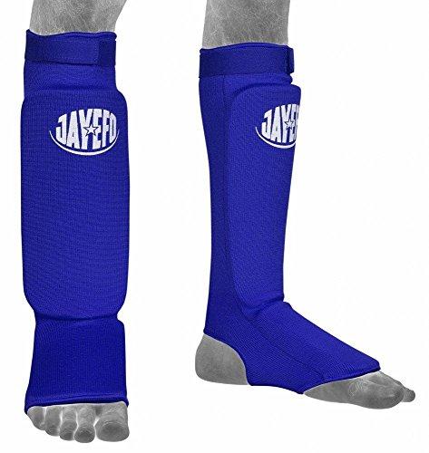 Jayefo Champs Shin Protector Pads Shin Instep Guards Kick Boxing Muay Thai Training Taekwondo MMA Boxing (Blue, Large/XLarge)
