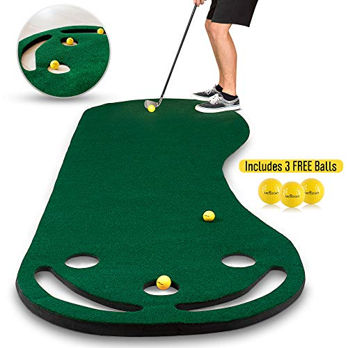 (Abco Tech Golf Putting Green Grassroots Mat - 9ft x 3ft - Outdoor and Indoor Use - Perfect for Practicing and Training - Includes Free 3 Yellow Golf Balls)