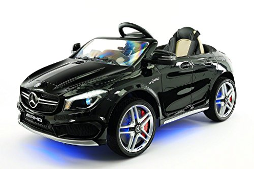 2016 mercedes cla45 12v kids ride on car toy mp3 usb player battery powered wheels rc parental remote black metallic little kid cars