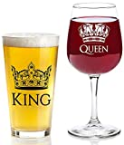 King and Queen Gift Set - 16 oz Beer Pint Glass, 13 oz Wine Glass - Christmas Present Idea, Wedding, Engagement, Housewarming, Anniversary, Newlyweds, Couples, Parents, Mom, Dad, Him, Her, Mr Mrs