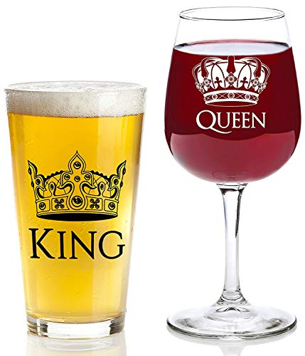 King and Queen Gift Set - 16 oz Beer Pint Glass, 13 oz Wine Glass - Christmas Present Idea, Wedding, Engagement, Housewarming, Anniversary, Newlyweds, Couples, Parents, Mom, Dad, Him, Her, -