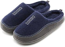 Men's Cozy Fuzzy Wool Fleece Memory Foam Slippers Slip On Clog House Shoes Indoor / Outdoor