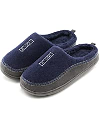 Men's Indoor/Outdoor Wool Cross Decor Slip On Memory Foam Clog House Slippers (US Men's 9-10, Navy Blue)