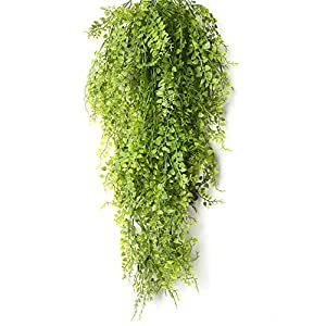 Artificial Plants Vines, Artificial Ivy Hanging Vine Plants Fake Flowers Faux Plastic Plant Wall Hangs Flower Vines Greenery Plant for Lndoor Outside Wedding Home Garden Hanging Basket Decor-2pcs 4