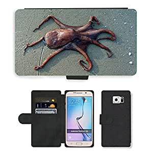 GoGoMobile PU LEATHER case coque housse smartphone Flip bag Cover protection // M00124911 Pulpo Beach Sand Sea Animal // Samsung Galaxy S6 (Not Fits S6 EDGE)