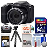 Minolta MN35Z 1080p 35x Zoom Wi-Fi Digital Camera (Black) with 64GB Card + Case + Flex Tripod + Kit