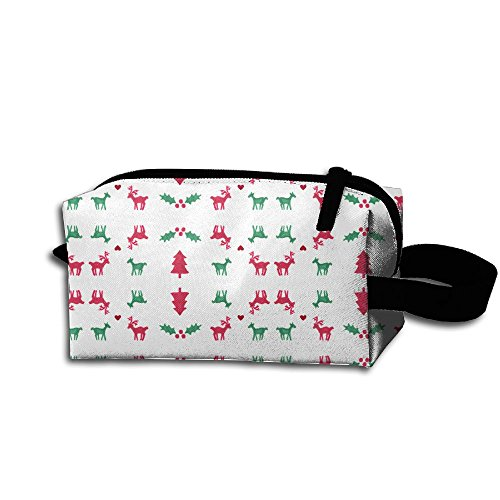 Makeup Cosmetic Bag Christmas Elements Clipart Medicine Bag Zip Travel Portable Storage Pouch For Mens Womens