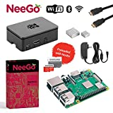 NeeGo Raspberry Pi 3 B+ (B Plus) Complete Kit, Black, 32GB Edition - Raspberry Pi Barebones Computer Motherboard 64bit Quad-Core 1.4GHz CPU 1GB RAM, Black Pi3 Case, 2.5A Power Supply, 6FT HDMI Cable,