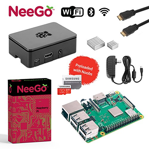 NeeGo Raspberry Pi 3 B+ (B Plus) Starter Kit, Black, 32GB Edition - Raspberry Pi Barebones Computer Motherboard 64bit Quad-Core 1.4GHz CPU 1GB RAM, Black Pi3 Case, 2.5A Power Supply, 6FT HDMI Cable, by NeeGo
