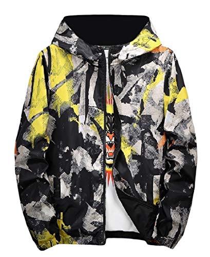 Coat Yellow Mens Camo Graffiti Energy up Hood Both Zip Print Wear Sides Jacket PFnndqCp
