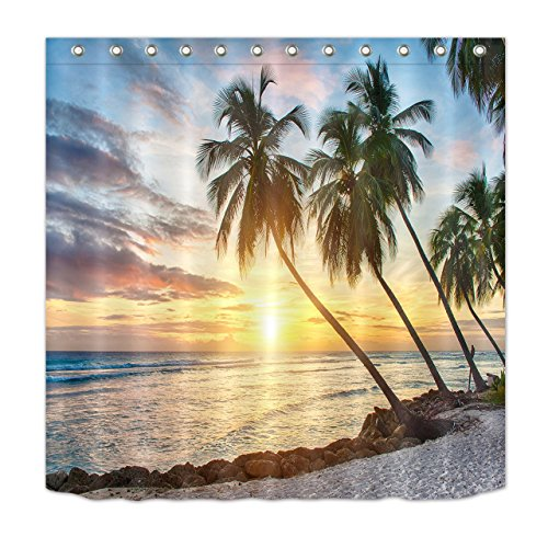 (LB Ocean Shower Curtain Kids,Tropical Palm Trees on Island Beach Scene View Picture, Waterproof Fabric Bathroom Shower Curtain Set with Hooks,72x72)