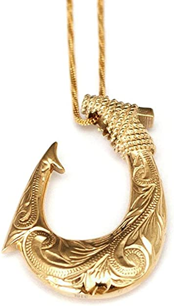 14K Solid Yellow Gold Hawaiian Design Lucky Fish Hook Pendant.C1710-10