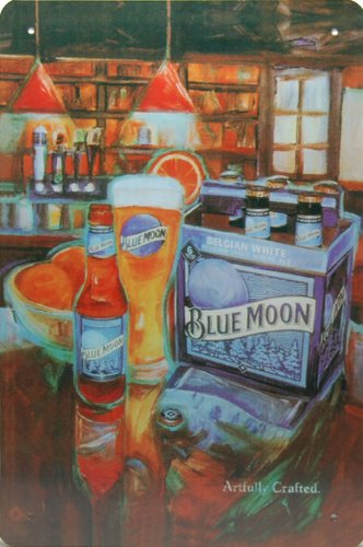 Blue Moon Beer, Metal Tin Sign, Dumb Oil Scrub Art Vintage Style Wall Ornament Coffee Decor, 20 X 30 Cm.