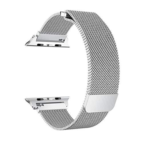 OROBAY Compatible with Apple Watch Band 38mm 40mm, Stainless Steel Milanese Loop with Magnetic Closure Replacement Band Compatible with Apple Watch Series 4 Series 3 Series 2 Series 1, Silver