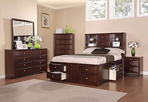 Poundex F9234EK Eastern King Bed in Espresso Finish, Brown