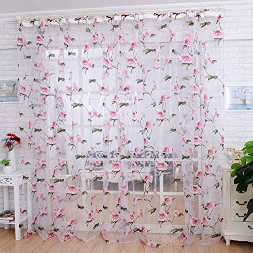 (Salaks [ship from CA or NJ] Brilliant Peony Tulle Window Screens Door Balcony Curtain Sheer Cover PK)
