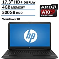 HP Pavilion 17.3 Laptop Computer, AMD Quad-Core A10-9600P up to 3.3GHz, 4GB DDR3 RAM, 500BB HDD, DVDRW, USB 3.0, HDMI, Bluetooth, HD Webcam, WIFI, Rj-45, Windows 10 Home